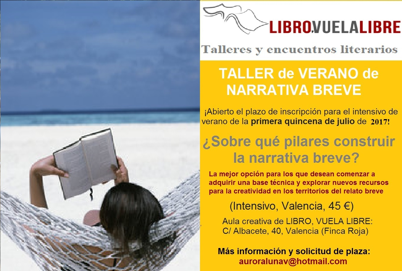 Encuentros y cursos de verano en Valencia de LIBRO, VUELA LIBRE. Taller de escritura, clave V-23