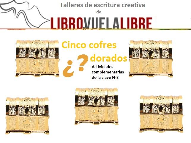 Nudos argumentales en el taller de escritura en Valencia de LIBRO VUELA LIBRE.  Actividades complementarias para escritores en formación de los cinco cofres dorados.